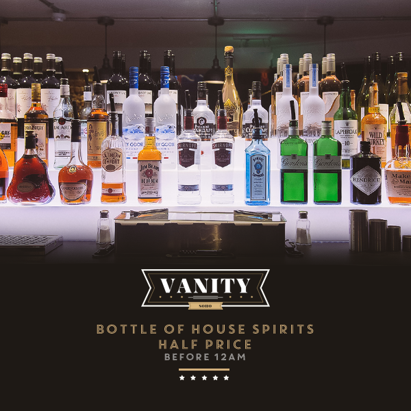 Bottle of House Spirits for Half Price Offer Before 12AM